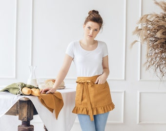 Short waist apron with pockets in many colors, Softened pre-washed linen apron with ruffles