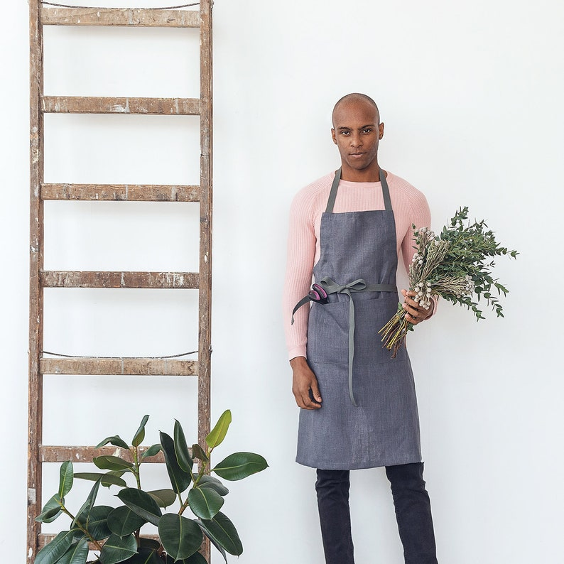 Slate grey linen gardening apron with pockets and long adjustable straps