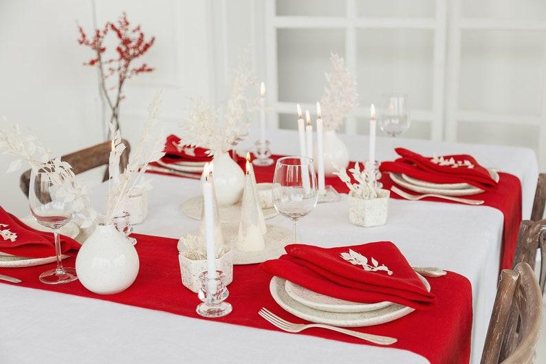 Red linen table runner handmade of softened linen will be image 0