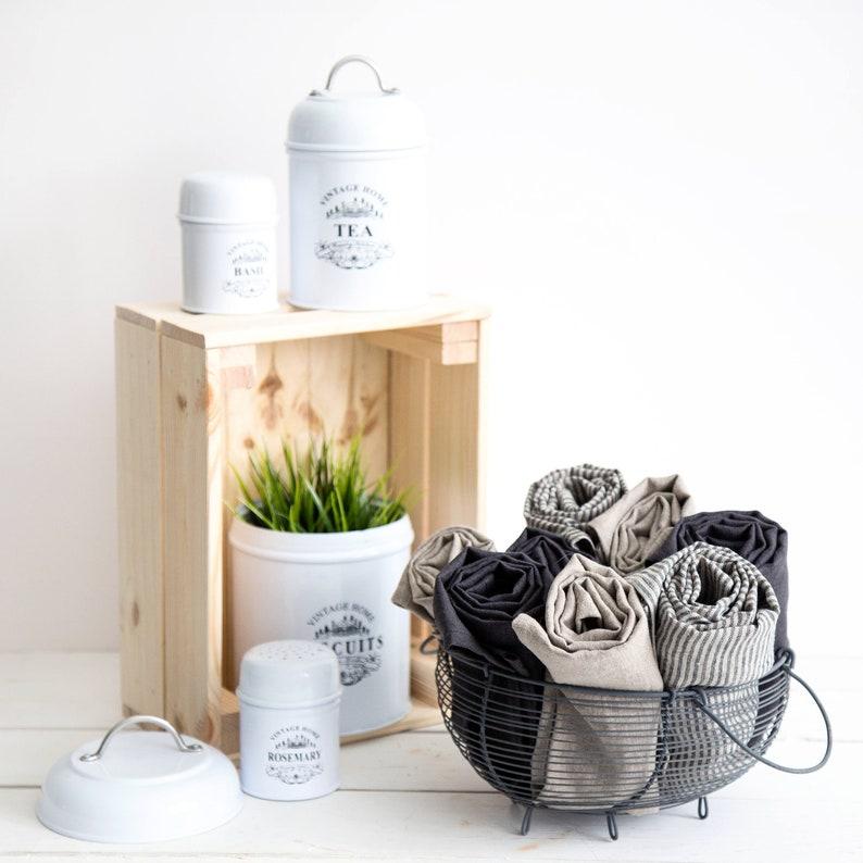Linen tea towels set of 6 pure linen dish towels prewashed image 0