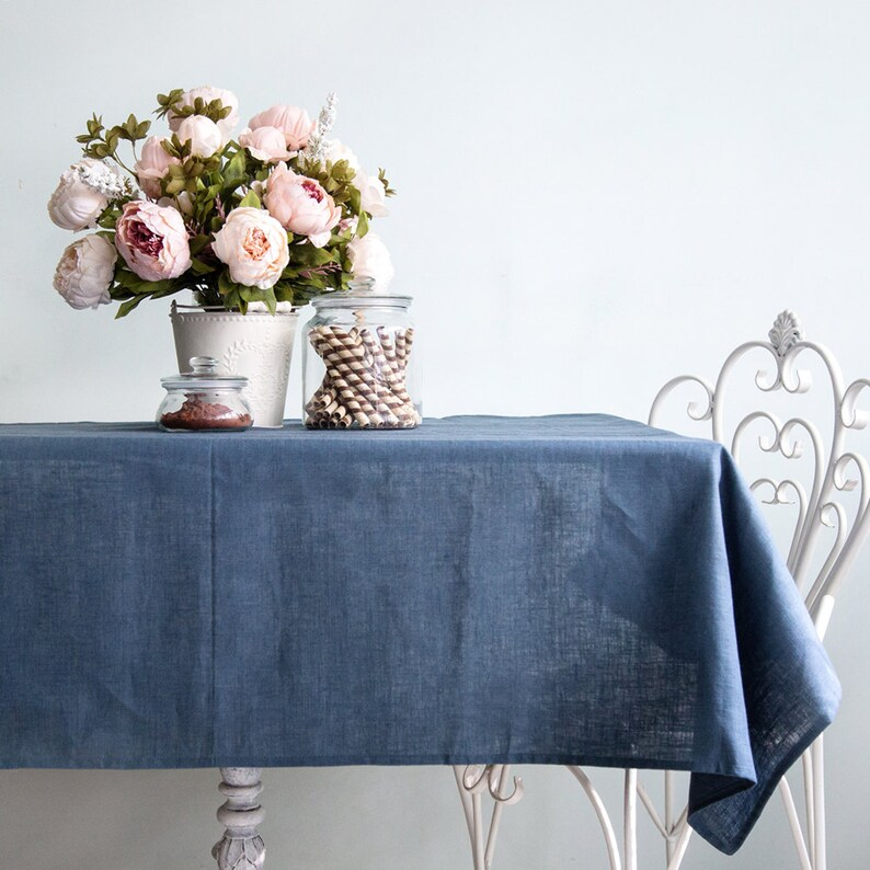 Blue linen tablecloth  Natural linen Wedding tablecloth  All image 0