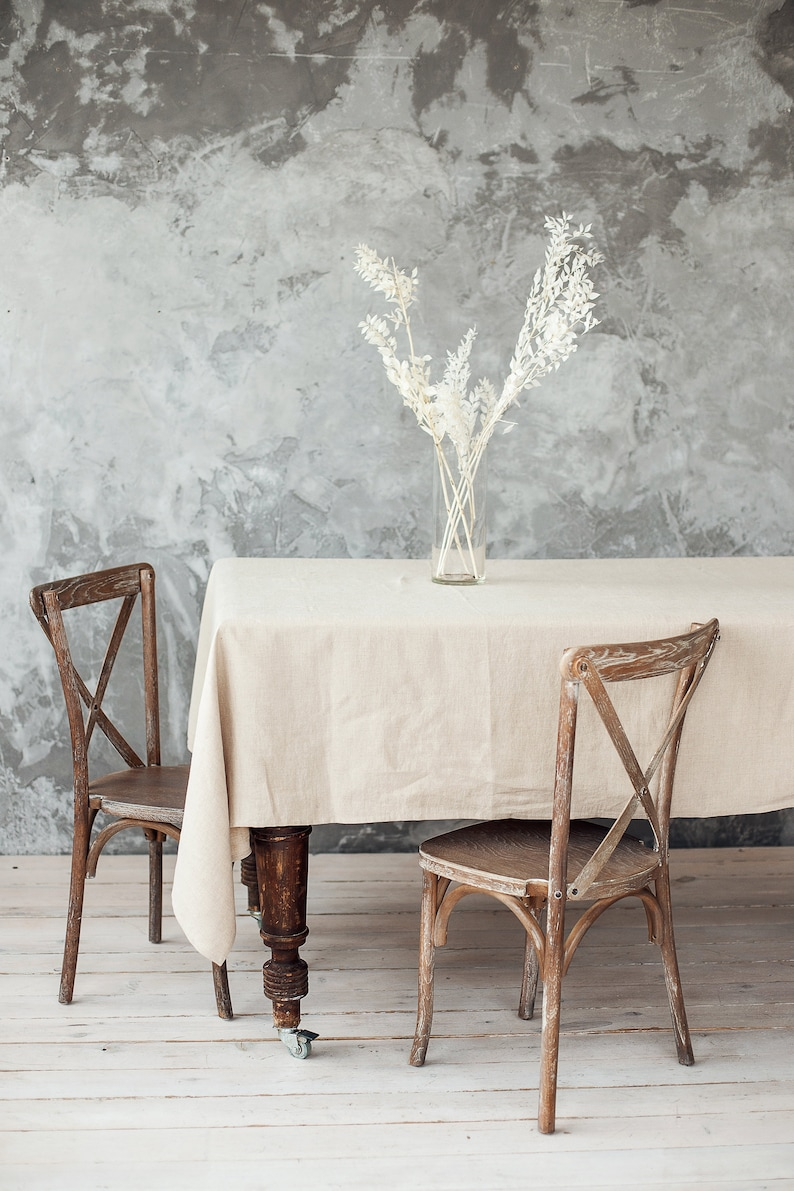 Natural linen tablecloth for a Swedish farmhouse table scape image 0