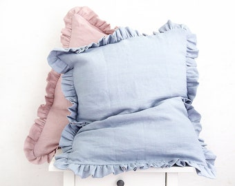 Ruffled linen pillow cases made of softened linen in light blue color