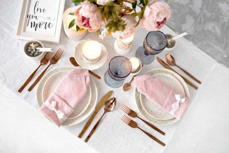 Blush Pink napkins set made of Natural Linen perfect as image 0