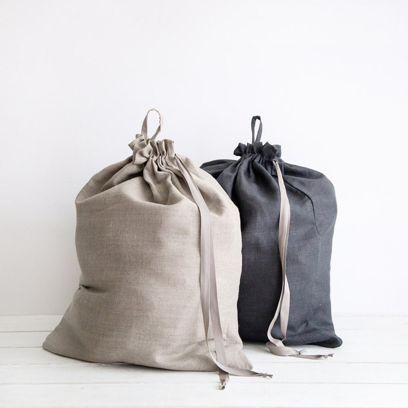 Two Large linen laundry bags  Dark grey and grey clothes bags image 0