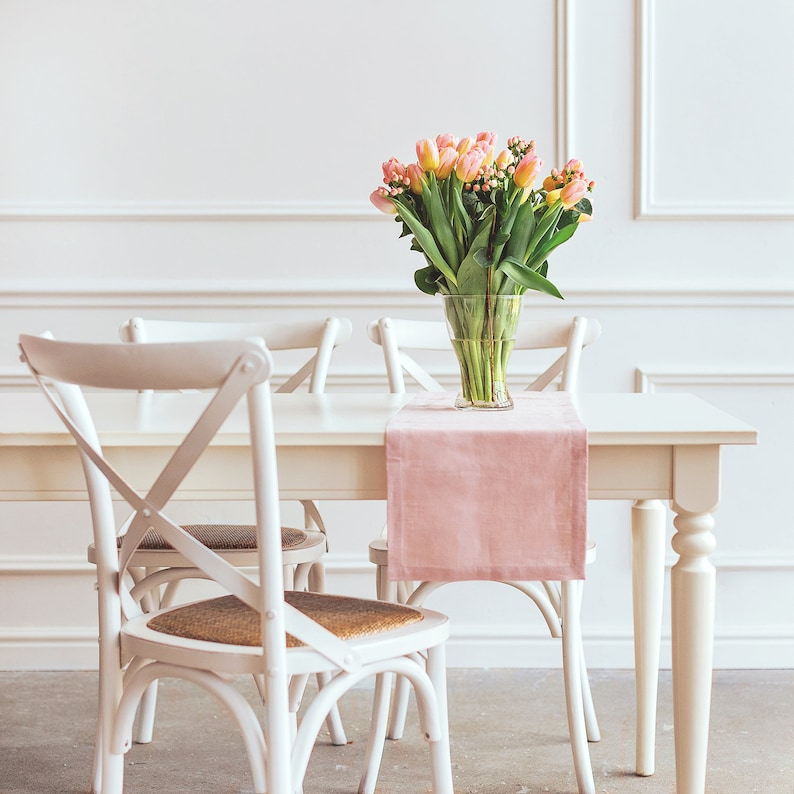 Blush Pink Runner  Table runner made of stone washed Linen image 0