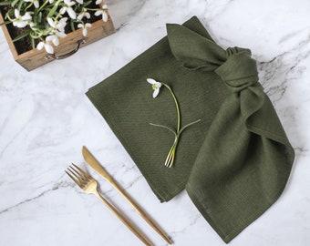 Green cloth napkins set of 6, Natural linen napkins, Linen cloth napkins bulk,  Softened linen napkins, Wedding linen napkins