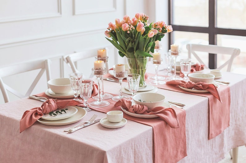 Long linen table runner in living coral colour image 0
