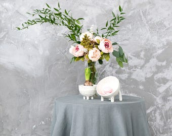 Round tablecloth made of natural linen - Linen tablecloth in many colors perfect as restaurant table top