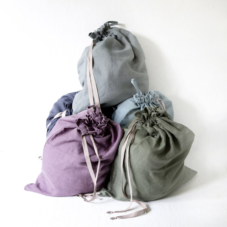 Linen laundry bag made of softened linen  Large clothes bag  image 0