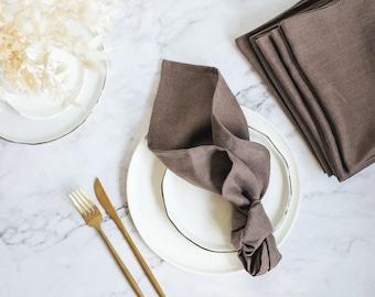 Linen cloth napkins, Wedding cloth napkin, Natural linen napkins, napkins set of 6, Brown cloth napkins bulk