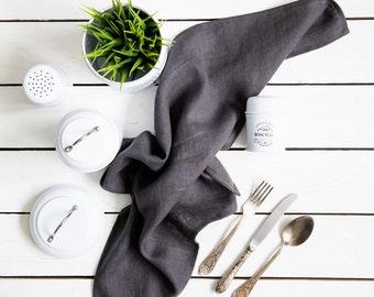 Natural linen tea towel, Graphite color kitchen towel, Swedish farmhouse dish towel