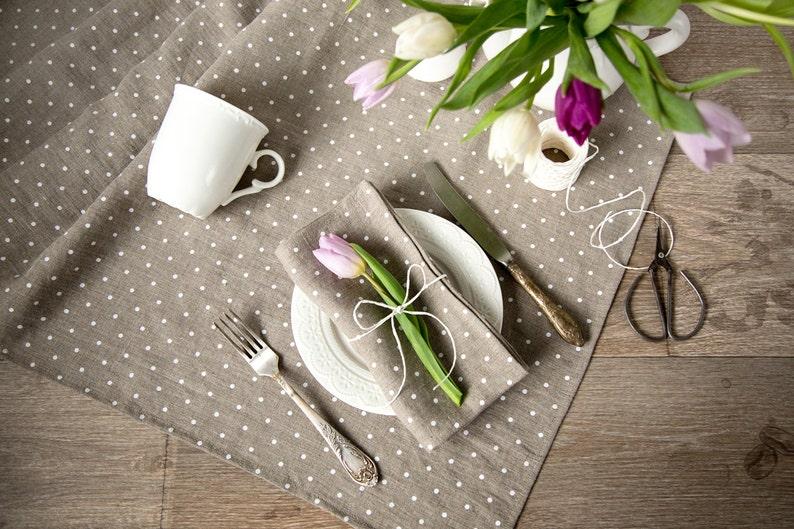 Linen Runner Table Runner Easter decor Table top Polka dot table runner Mothers day gift idea