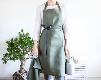 Army green Maid Apron with pockets and long adjustable straps will be perfect as you Kitchen apparel