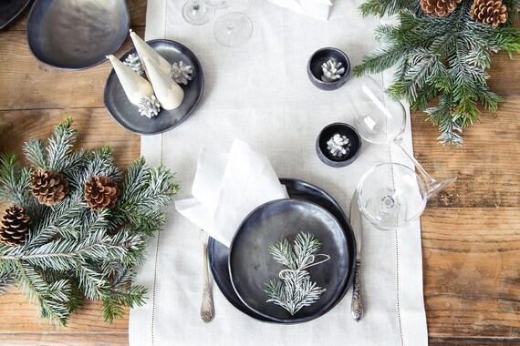 Lot de serviettes de table blanc rebrodée de 6 en lin naturel - dessus de table de Noël