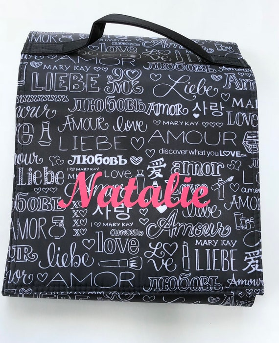 e0ee73c03b12 Name for graffiti travel roll up bag / mary kay / iron on decal / monogram  / customized / make up bag / name