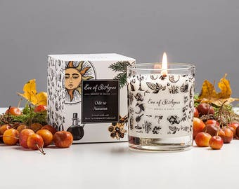 Autumn, scented soy candle, with cedarwood, oakmoss and birch tar, smokey, bonfire night, fragrance, perfect for autumn / fall / halloween