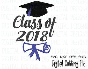 Graduation Svg, Graduation Cap & Diploma Svg Clipart - 2018 Graduation Cap Svg Cut files, Svg Dxf Eps Png Graduation files Silhouette Cricut
