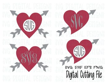 Valentine Monogram SVG Monogram frame Set, Valentines Heart SVG Cut files, Svg Dxf Eps Png files for Silhouette, Cricut Instant Download