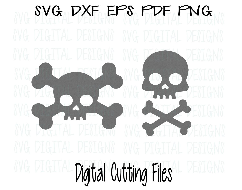Skull And Cross Bones Svg Dxf Eps Cut File Crossbones Digital Etsy