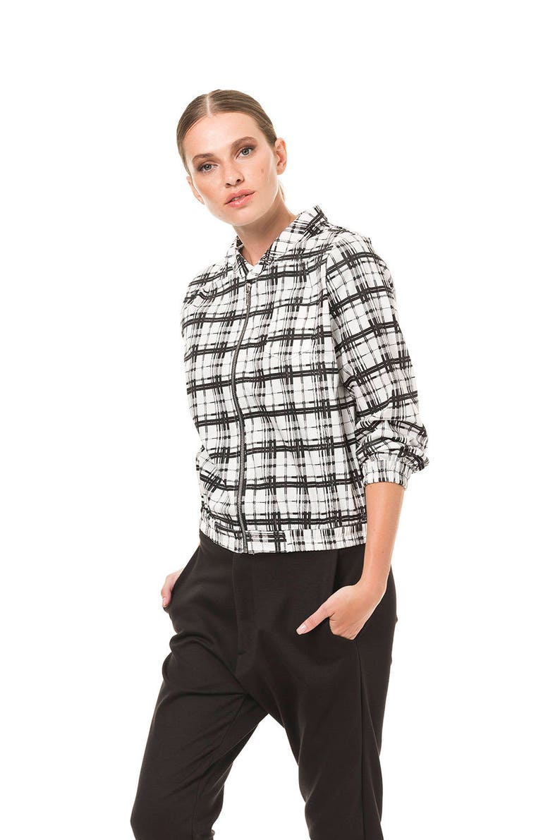 30d72c81328a Nero   bianco bombardiere giacca Bomber per donna giacca