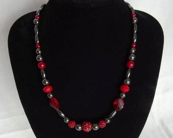Necklace, one off design, red & dark grey hematite beads, magnetic clasp, UK