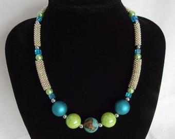 Necklace, one off design, green and silver-plated beads, magnetic clasp, UK