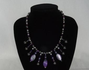 Dark purple & gunmetal grey beaded necklace, one-off design, magnetic clasp, UK shop