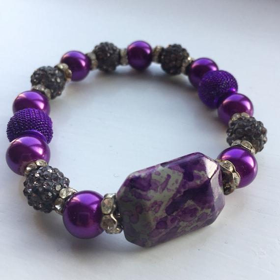 wire bangle Purple 25mm acrylic beads LARA Collection jewelry making oval beads large purple bridesmaid chunky statement necklace
