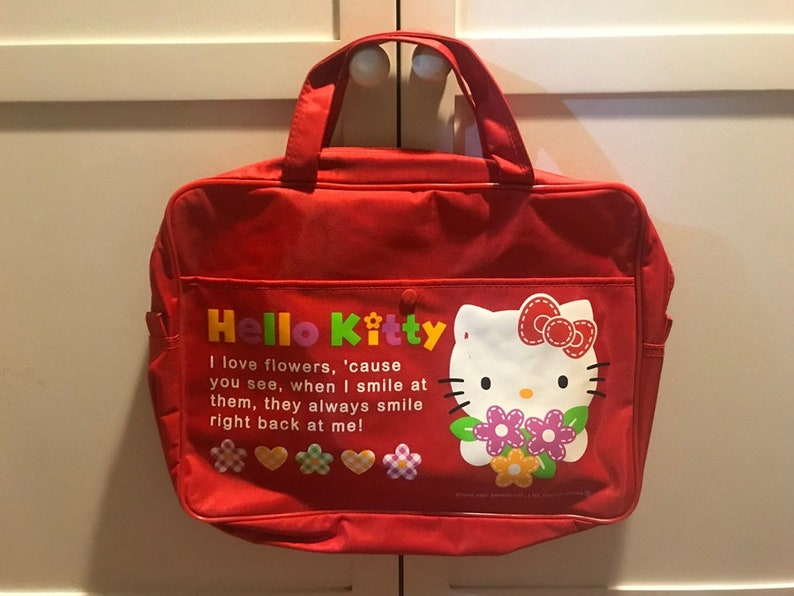 Vintage 1997 Sanrio Hello Kitty Red School College Bag  1693cee1065aa