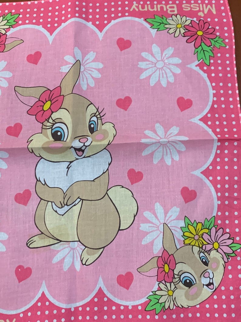 Vintage girl/'s handkerchief Miss Bunny Thumper /'s Girlfriend