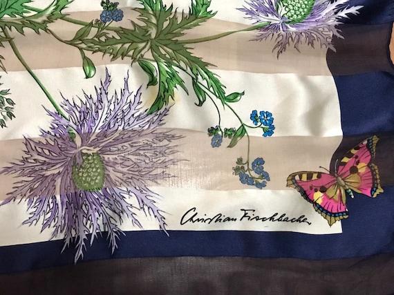 Vintage Silk Scarf Christian Fischbacher Flowers a