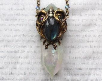 Angel Aura Necklace, Angel Aura Quartz, Labradorite Necklace, Polymer Clay Pendant, Mermaid Necklace, Mermaid Pendant, Goddess Necklace