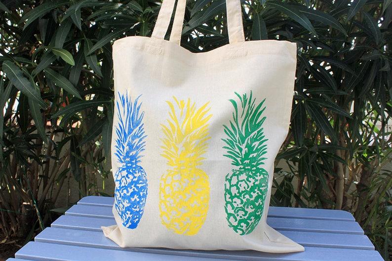 ee6e5c2e3 Tote bag Piñas azul bolsa de tela bolsa de algodon tote bag | Etsy