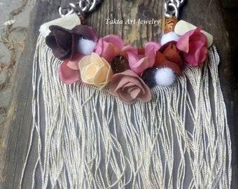 Flower felt necklace w, chunky fiber bib neckpiece, textile art jewelry, mother of the bride gift