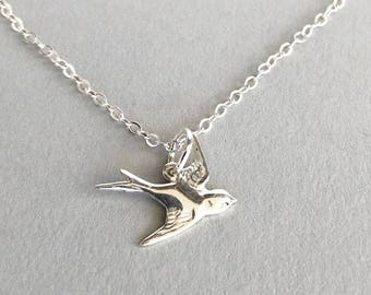 Bird Necklace, Silver Flying Swallow Charm on Sterling Silver Chain, Nature Woodland Jewellery, Sparrow Necklace, Birthday Gift