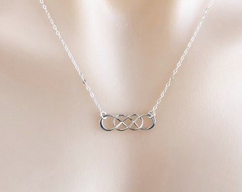 Double Infinity Necklace in Sterling Silver, Eternity Jewellery, Friendship Necklace, Eternal Love Gift For Her