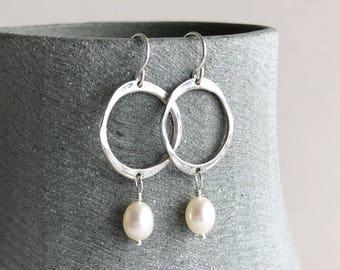 Silver Circle Earrings in Sterling Silver, Big Eternity Circle Pearl Drop Earrings, Natural Cream Pearl Jewellery, June Birthstone Earrings