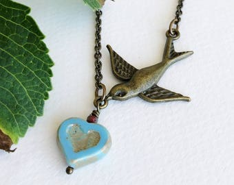 Bird Necklace with Czech Glass Heart Bead, Flying Swallow Necklace, Woodland Jewellery, Boho Hippie Necklace, Nature Lovers Gift