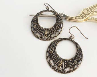 Large Boho Filigree Earrings, Tribal Hoop Earrings, Gypsy Earrings, Bohemian Statement Jewellery