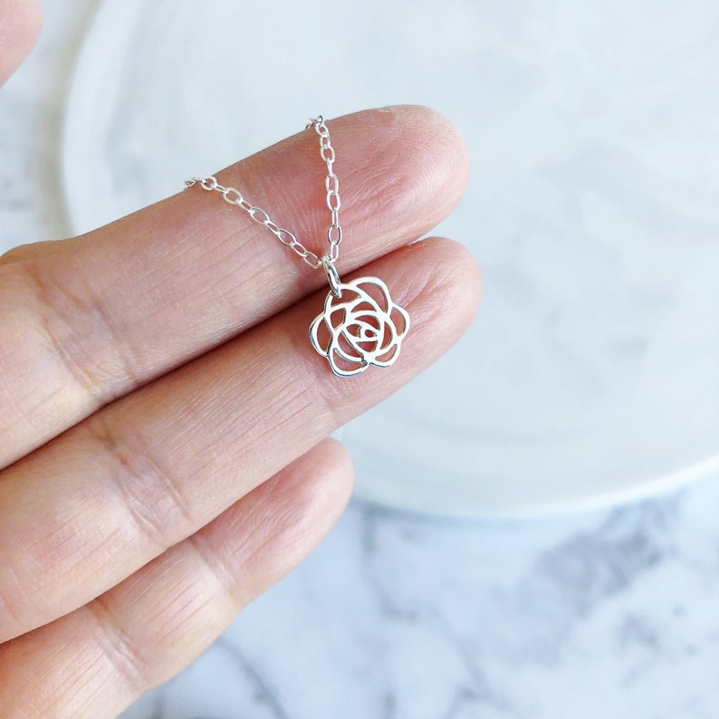 Rose Flower Necklace in Sterling Silver Dainty Rose Charm image 0