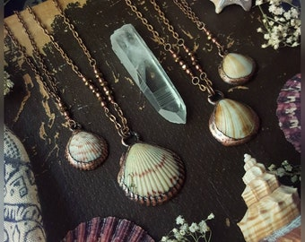 Copper Electroformed Beach Shell Necklaces, Electroformed Jewelry, Electroformed Stones, Copper Necklaces, Copper Jewelry, Handmade, Boho