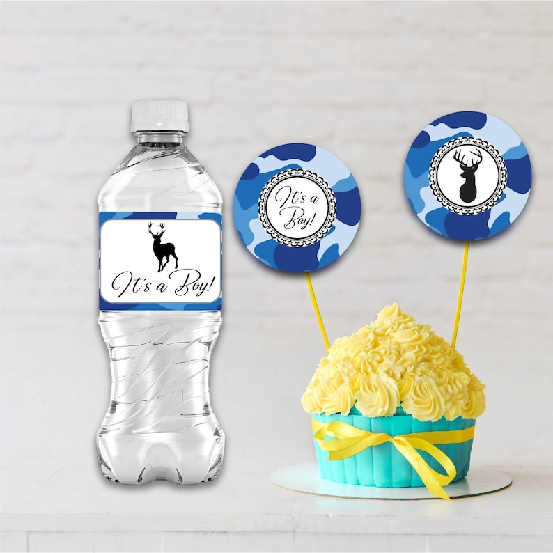 Two Pack Cupcake Toppers Bottle Labels Baby Shower image 0