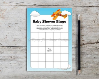 Baby Shower Bingo, Baby Shower Game, Shower Party Game, Bingo, Party Supplies, Blue, Airplane, Aviation, Printable, Instant Download T24D