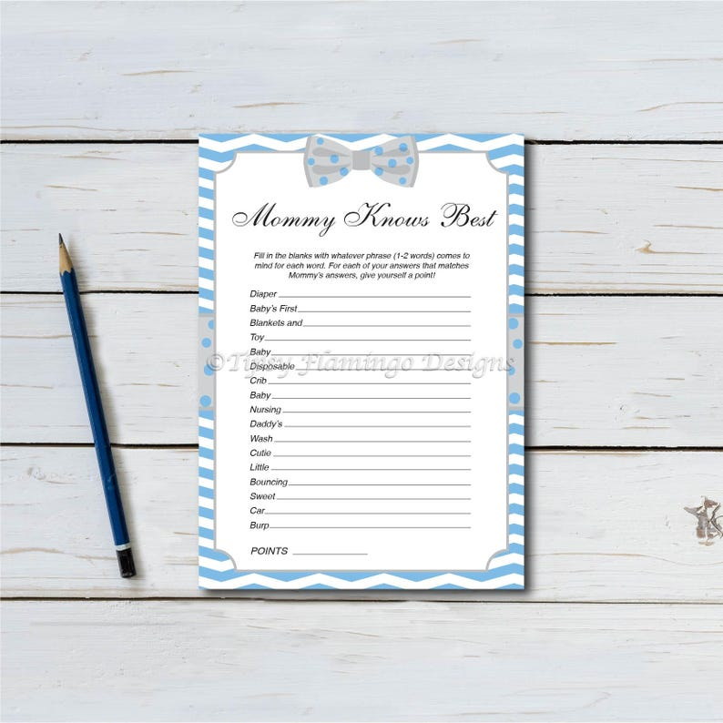 Mommy Knows Best Baby Shower Baby Shower Game Blue and image 0