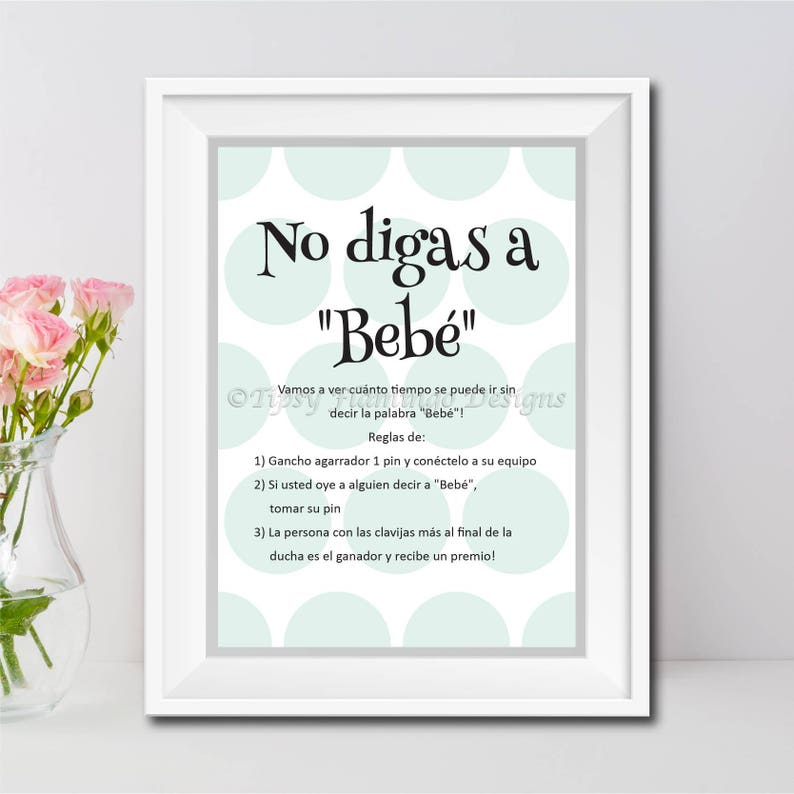 Don't Say Baby Spanish Baby Shower Game Shower Game image 0
