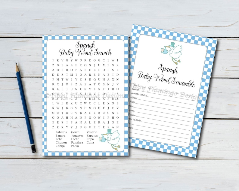 photograph regarding Spanish Word Searches Printable identify 2 Pack, Spanish Child Shower Game titles, Term Scramble and Term Appear, Español, Blue, White, Checkers, Boy, Printable, Quick Down load T165C