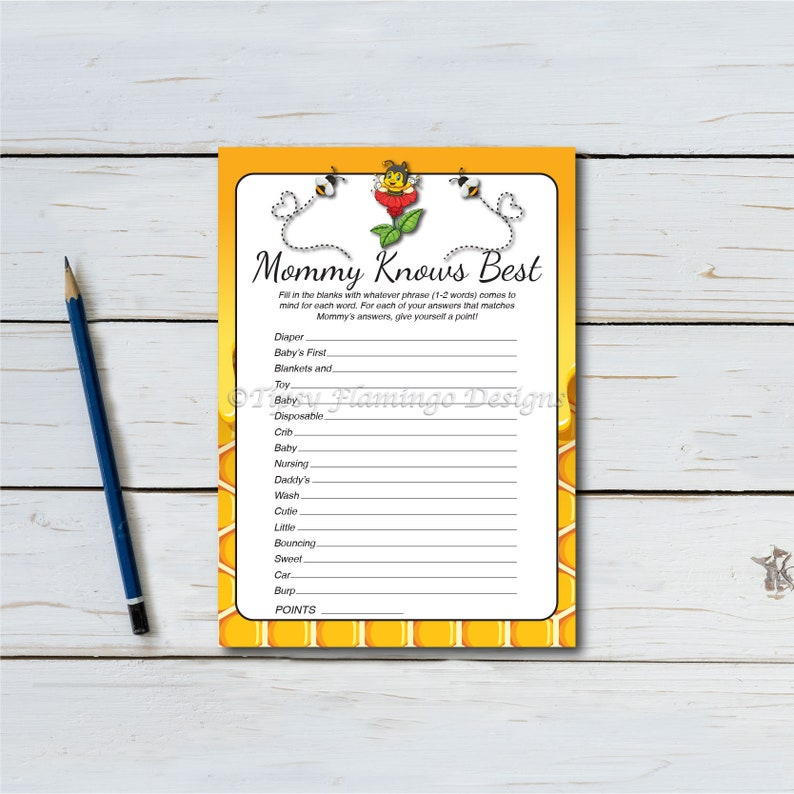 Mommy Knows Best Baby Shower Game Bee Honey Honeycomb image 0