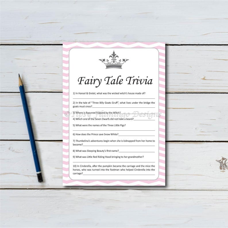 Fairy Tale Trivia Baby Shower Game Shower Game Pink and image 0