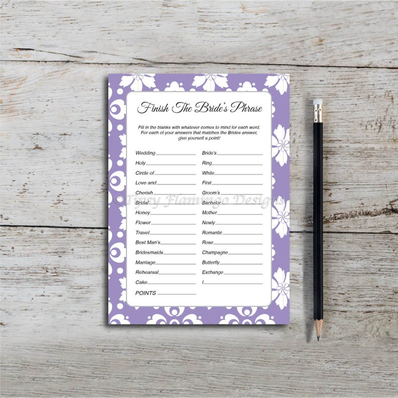 Finish The Bride's Phrase, Bridal Shower Game, Wedding Shower Game,  Lavender, White, Floral, Flower, PDF, Printable, Instant Dowload T121A